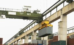 Sea freight cargo container yard Royalty Free Stock Photos