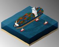 Sea freight transport. royalty free illustration