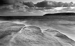 Sea Freshwater 3 flat rocks BW Royalty Free Stock Images