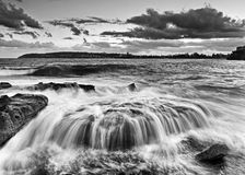 Sea freshwater overflow BW Royalty Free Stock Images