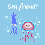 Sea friends jellyfish and squid Stock Photos