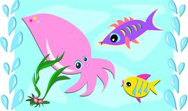 Sea Friends of Squid and Fish Stock Photo