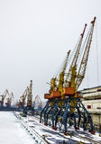 Sea front with cranes, Odessa, Ukraine Stock Photo