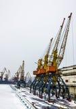 Sea front with cranes, Odessa, Ukraine Stock Photo