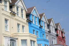 Sea Front Houses. A picture of a colorful terrace of houses along the seafront at Aldeburgh, England Stock Photo