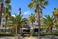 Sea front promenade with hotels and restaurants at Malvarrosa beach Royalty Free Stock Image