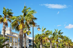 Sea front promenade with hotels and restaurants at Malvarrosa beach Stock Photography