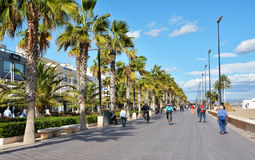 Sea front promenade on the shore of Malvarrosa beach Stock Photography