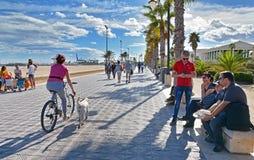 Sea front promenade on the shore of Malvarrosa beach Royalty Free Stock Photos