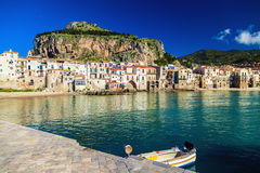 Sea-front view of Cefalu Royalty Free Stock Images