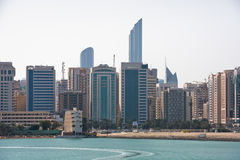 Sea front view with luxurious buildings in Abu Dhabi Stock Images
