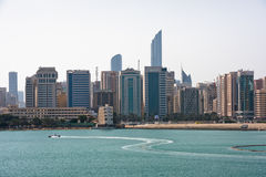 Sea front view with luxurious buildings in Abu Dhabi Royalty Free Stock Photo