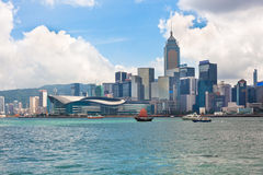 Sea front view with luxurious buildings in Hong Kong Stock Image