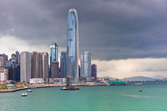 Sea front view with luxurious buildings in Hong Kong Royalty Free Stock Image