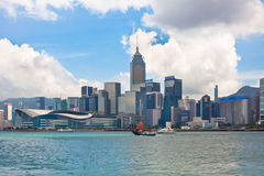 Sea front view with luxurious buildings in Hong Kong Stock Photos