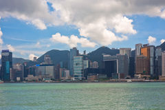 Sea front view with luxurious buildings in Hong Kong Royalty Free Stock Photo