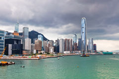 Sea front view with luxurious buildings in Hong Kong Royalty Free Stock Images