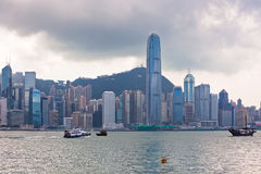 Sea front view with luxurious buildings in Hong Kong Stock Images