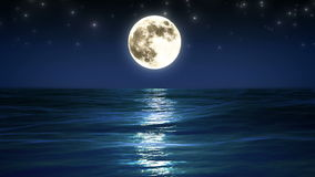 Sea and Full Moon. Night Sky with Flashing Stars. Beautiful Relaxing Looped Animation. HD 1080