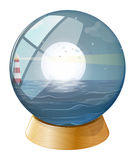 A sea with a fullmoon inside the dome royalty free illustration