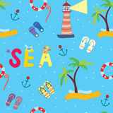Sea funny seamless pattern Stock Photography