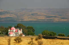 Sea of Galilee. View on small church on the Galilee sea shore in Israel Stock Photography