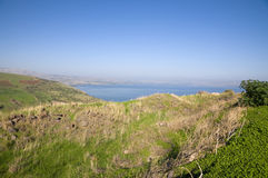 Sea of Galilee and the Arbel cliff. The Arbel Cliff and the see of Galilee Stock Photos