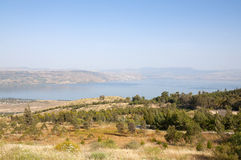 Sea of Galilee and the Golan Royalty Free Stock Photo
