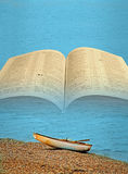 Sea of galilee gospels of christ jesus. Concept photo of open holy bible with fishing boat on the shore of sea of galilee depicting travels and preaching tour of Royalty Free Stock Image