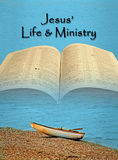 Sea of galilee gospels of christ jesus. Concept photo of open holy bible with fishing boat on the shore of sea of galilee depicting travels and preaching tour of stock photo
