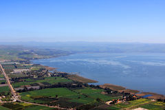 Sea of Galilee, Israel. View of the sea of Galilee (Kineret lake) from Arbel mountain, Israel Stock Photo