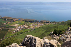 Sea of Galilee, Israel. View of the sea of Galilee (Kineret lake) from Arbel mountain, Israel Royalty Free Stock Image