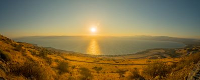 Sea of Galilee the Kinneret lake, at sunset. Panoramic view of the Sea of Galilee the Kinneret lake, from the east, at sunset, Northern Israel Stock Photos