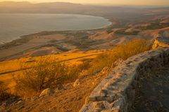 Sea of Galilee the Kinneret lake, at sunset. View of the northern part of the Sea of Galilee the Kinneret lake, from the east, at sunset, Northern Israel Royalty Free Stock Photography