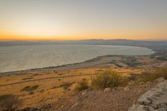 Sea of Galilee the Kinneret lake, at sunset. View of the northern part of the Sea of Galilee the Kinneret lake, from the east, at sunset, Northern Israel Royalty Free Stock Image