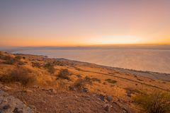 Sea of Galilee the Kinneret lake, at sunset. View of the southern part of the Sea of Galilee the Kinneret lake, from the east, at sunset, Northern Israel Stock Photos