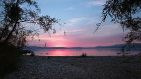 Sea of galilee through trees at sunset stock video