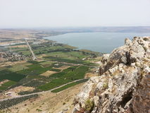 Sea of Galilee view with farms Royalty Free Stock Images