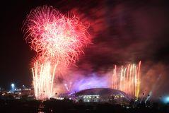 Sea games opening fireworks Stock Photography