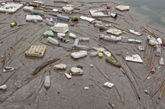 Sea garbage. Floating garbage in the sea Stock Photography