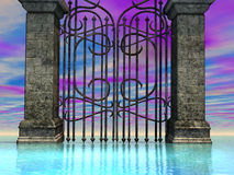 Sea Gate 2. Surreal gate before an azure sea Royalty Free Stock Photography