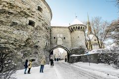 Sea gate in the old town in Tallinn in winter.Estonia. Stock Image