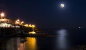 The sea of Genoa Quarto in the moonlight Stock Photography