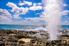 Sea Geyser with ocean and blue skies royalty free stock photography