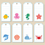 Sea gift tags Royalty Free Stock Images
