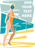 Sea girl. Vector illustration of a girl in swimwear running on the beach and listening to music. Solid fill only vector illustration