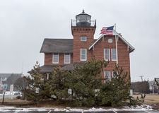 Sea Girt Lighthouse in the Snow Stock Photo
