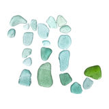 Sea glass zodiac sign. Sea glass astrological sign Scorpio, the Scorpion on white stock images