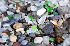 Sea glass detail. Macro of a colorful group of sea glass pieces under bright sunshine Stock Photography