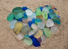 Free Sea Glass Pebbles In The Shape Of A Heart Royalty Free Stock Photography - 108076847